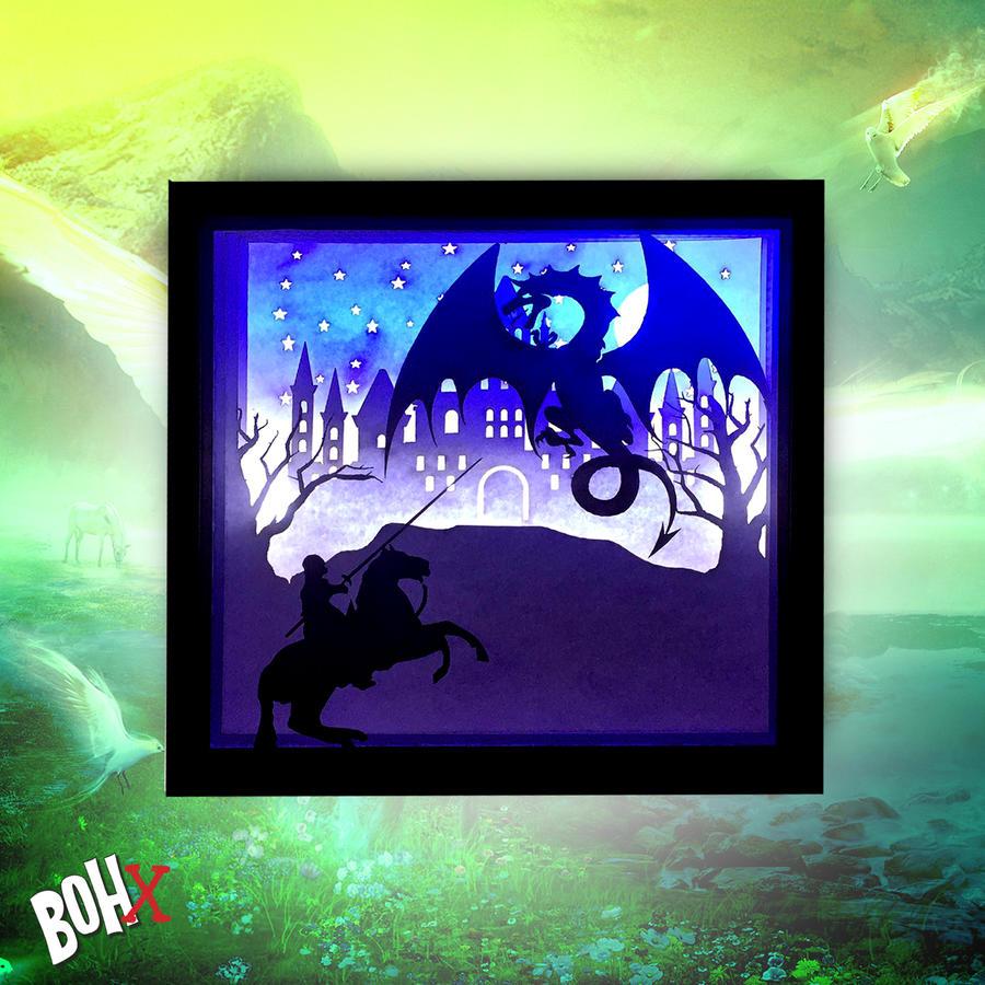 Lampada 3D intagliata Fantasy
