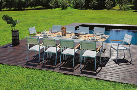 TAVOLO da giardino in teak alluminio BONIFACIO allungabile 135/270 x 105 cm RTT 84
