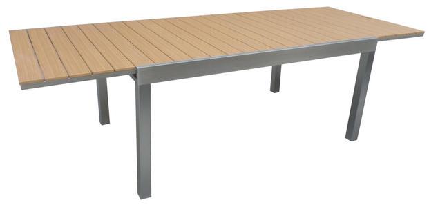 Tavolo da giardino in resin wood TEAK CORTINA superallungabile 165/265 x 100 in alluminio satinato RTE 59