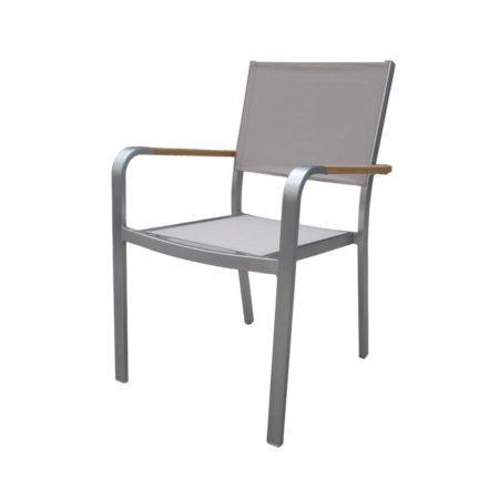 Sedia da giardino impilabile CORTINA alluminio satinato e resin wood teak CHE37 textilene tortora