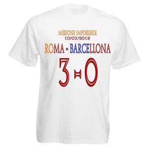 T-Shirt Personalizzata Celebrativa Missione Impossibile Roma Barcellona 3-0 GialloRossi
