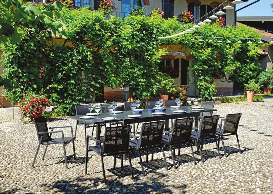 Tavolo da giardino in alluminio MONTALCINO 135/270 x 105 cm  ALLUMINIO ANTRACITE codice RTA 55