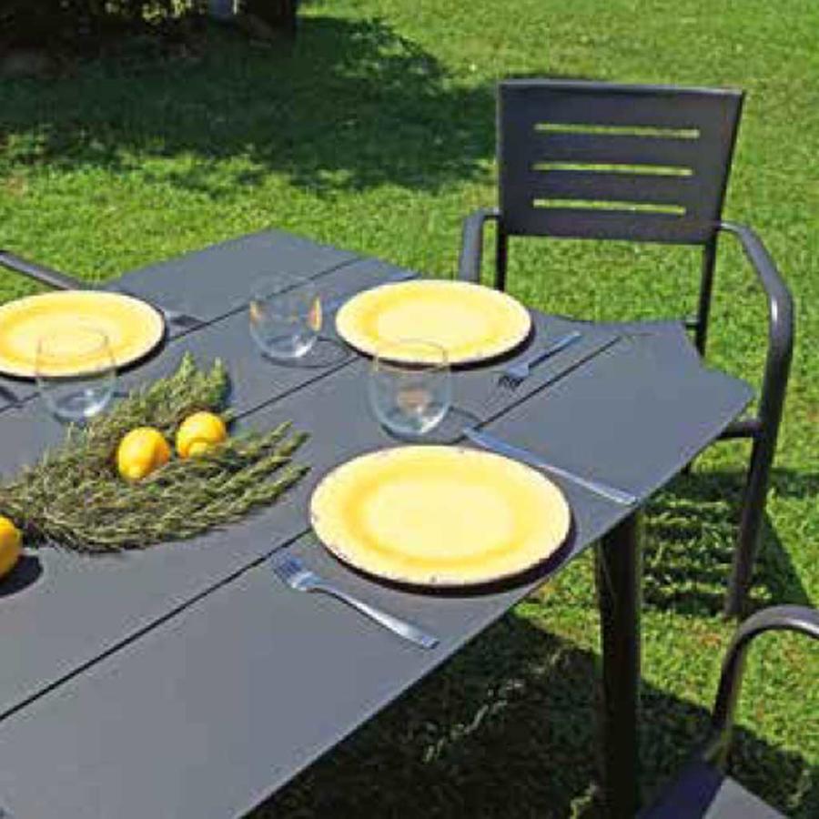Tavolo da giardino  CAPALBIO 180 x 90 cm – DINING SET in alluminio ANTRACITE a doghe RTA 34