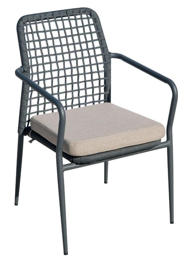 Sedia da giardino in alluminio e corda impilabile PISA antracite CHA 29