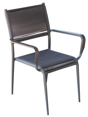 Sedia da giardino in alluminio  e corda CAPRAIA colore antracite CHA 31