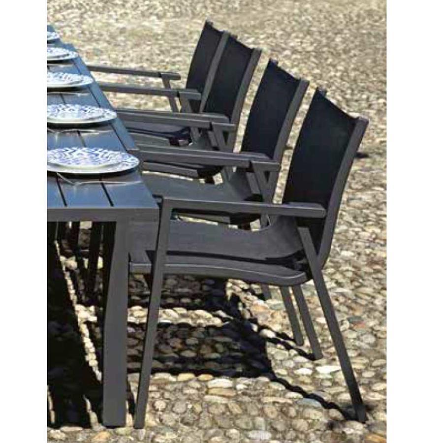 Sedia da giardino in textilene grigio PIENZA antracite impilabile CHA 25