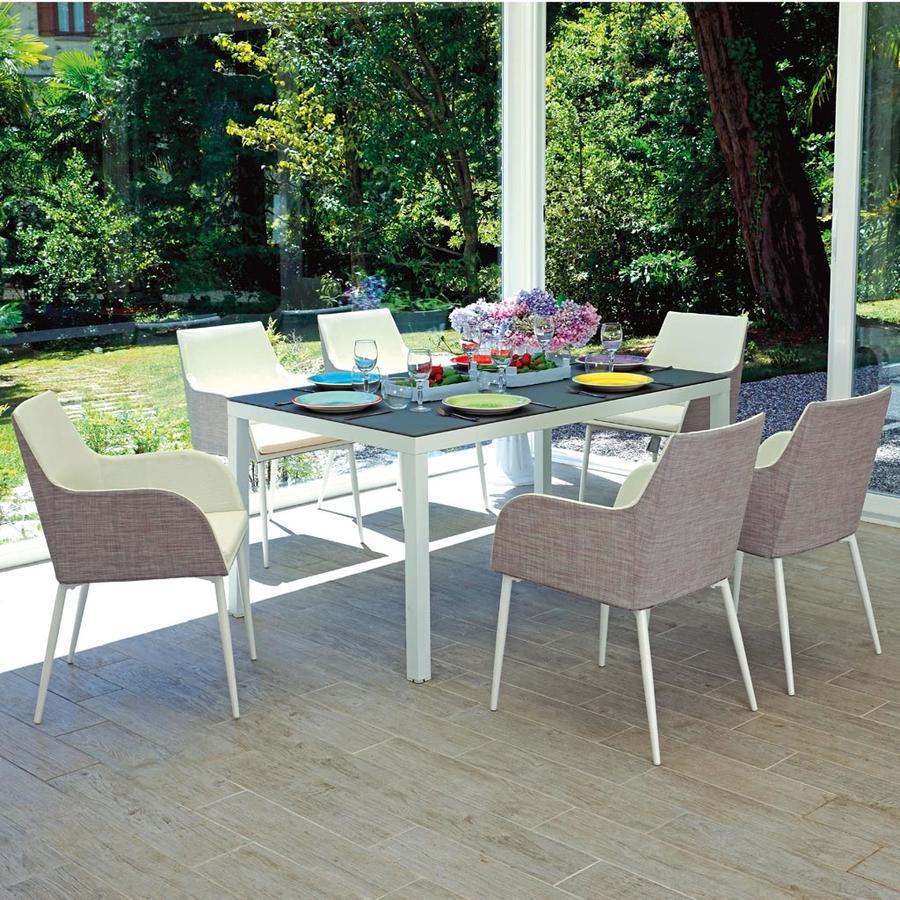 Tavolo da giardino in alluminio 150 x 90 FALCONARA bianco RTA 47