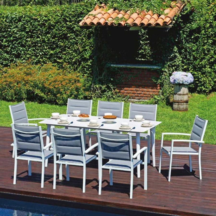 Tavolo da giardino LANCIANO 180 x 90 cm alluminio bianco DINING SET in alluminio RTA 50