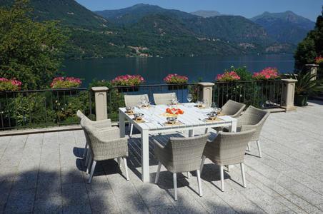 Tavolo da giardino QUADRATO in alluminio 145 x 145 cm LORETO bianco STA 52