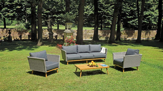 Salotto da giardino SET SANTA MARGHERITA in alluminio color legno e wicker grigio divano 3 posti SET 113