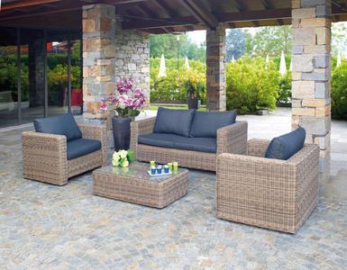 Set divanetto da giardino professionale da Giardino SET TRINIDAD divano + 2 poltrone tavolino cuscino grigio rattan sintetico SET62
