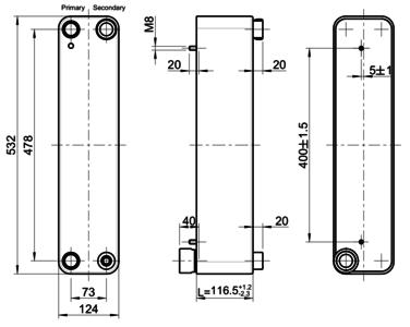 Plate Heat Exchanger GBH 500H-AE 48 (IA1,F2,B2,RBB4) B 1000094692 Kelvion (GEA)