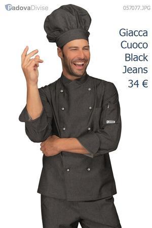 GIACCA CHEF UOMO MODELLO BLACK JEANS IN COTONE