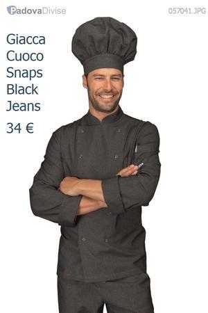 GIACCA DA CUOCO CON BOTTONI A PRESSIONE BLACK JEANS IN COTONE