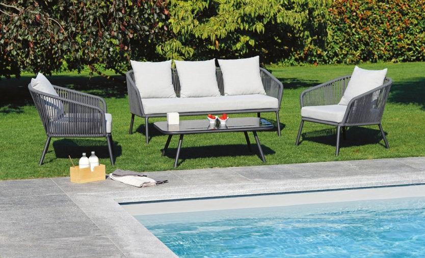 Salotto da giardino in alluminio antracite SET PONTREMOLI divano 3 posti in corda grigia SET 102