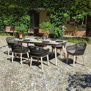 Set da pranzo in alluminio e resin cement DINING SET SAVONA tavolo 200 x 95 con 6 sedie in corda DSA 12