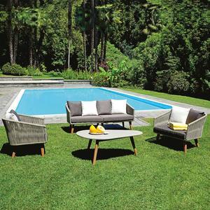Salotto da giardino in alluminio SET LA SPEZIA classico in corda SET 106