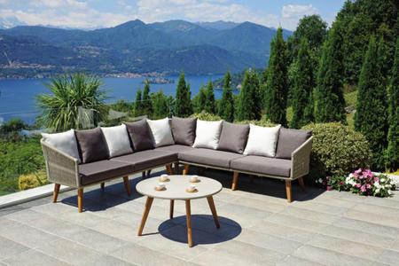 Salotto da giardino angolare CORNER SET GENOVA in alluminio 231 x 231 con tavolino SET 107