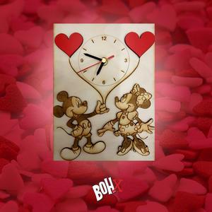 Orologio 3D Minnie e Mickey Mouse in legno