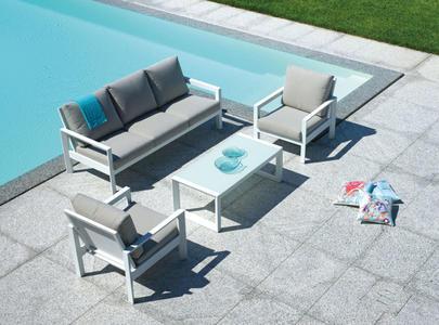 Set da giardino in alluminio SET ROMA bianco con divano 3 posti SET 109