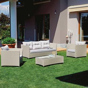 Salotto da giardino in alluminio SET AREZZO textilene tortora divano 3 posti SET 123