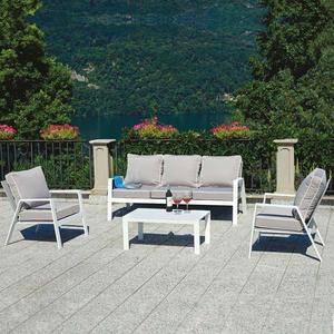 Salottino da giardino moderno SET GROSSETO in alluminio sandy divano 3 posti SET 121