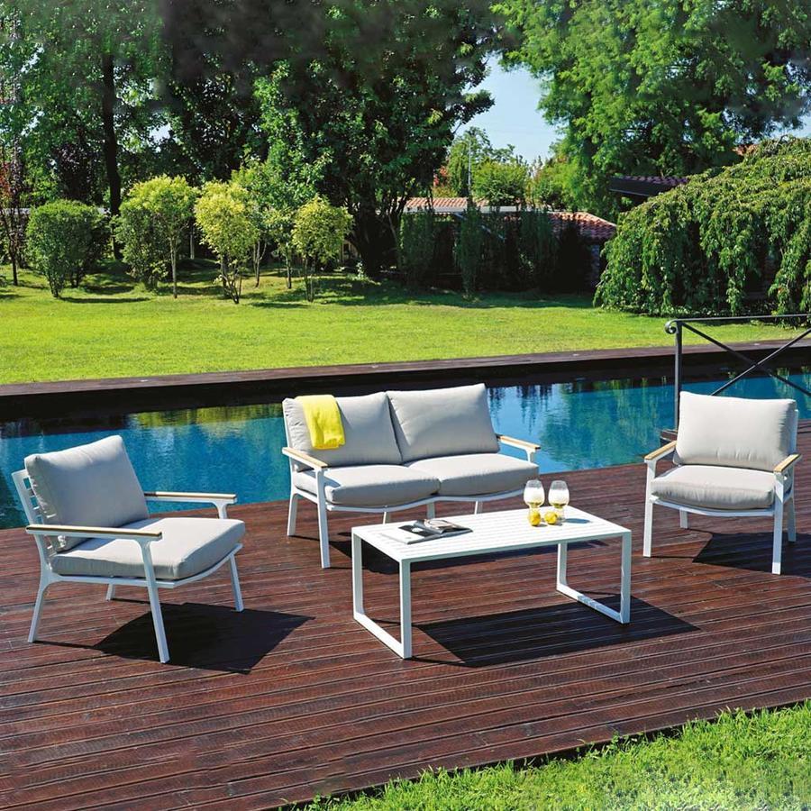 Salotto da giardino in alluminio SET LARIO struttura bianco sandy SET 124
