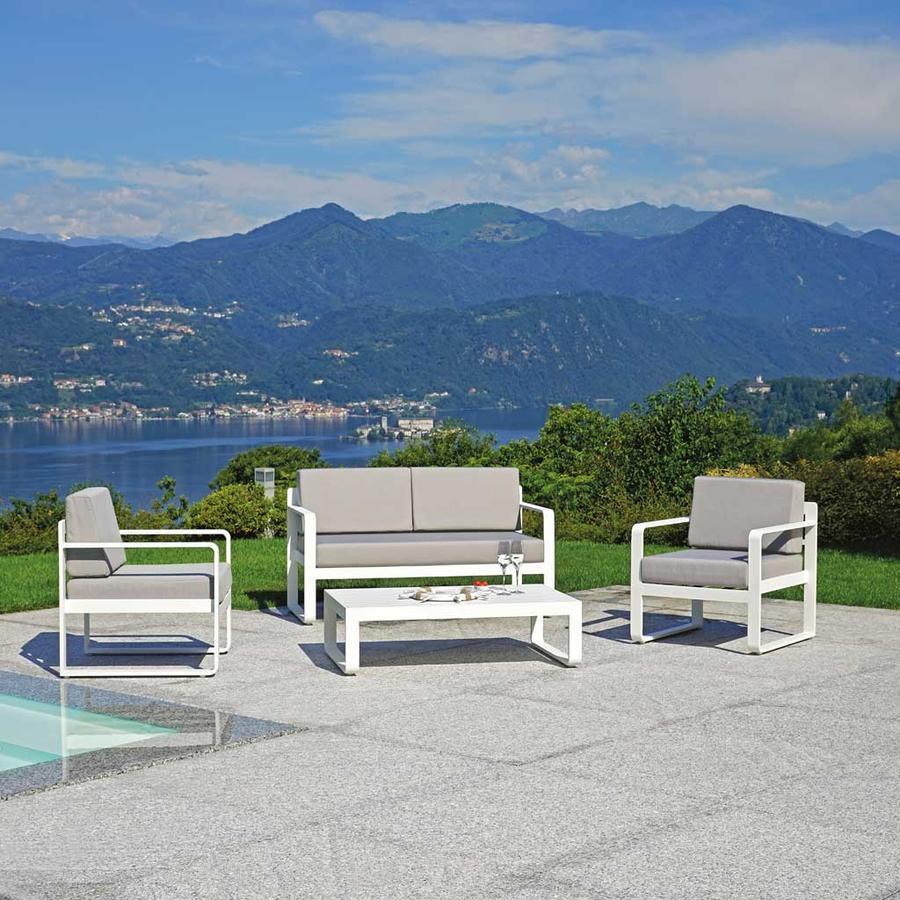 Salotto da giardino in alluminio SET PISTOIA struttura bianco sandy SET 122
