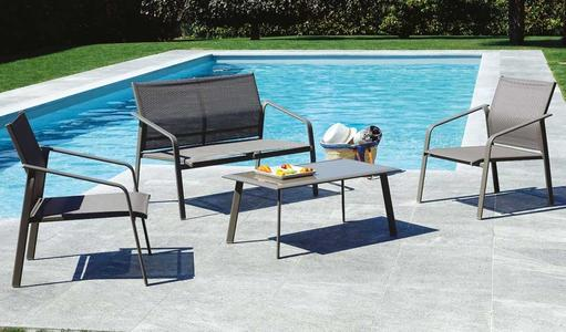 Salottino da giardino SET BERGEGGI 2 poltrone 1 divano e tavolino in epoxy ferro taupe CSF 12S