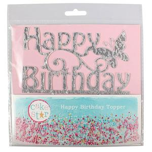 "Cake topper glitter ""Happy Birthday"""