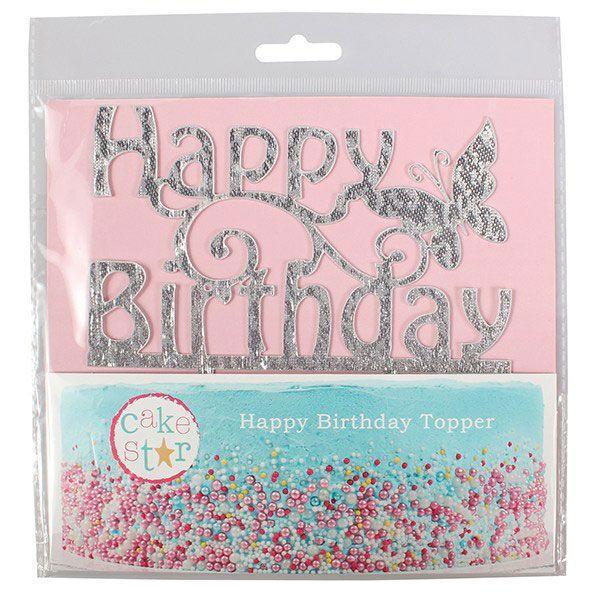 """Cake topper glitter """"Happy Birthday"""""""