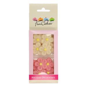 Set margherite in marzapane bianco e rosa Funcakes
