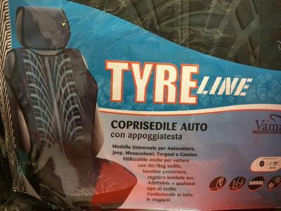 Schienale Coprisedile Auto Vamar Tyre Line Effetto Pneumatico con  Poggiatesta