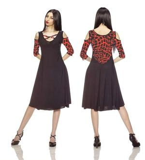BLACK BALL DRESS WITH SHOULDERS AND CLOSURE 4-0032 RED FANTASY
