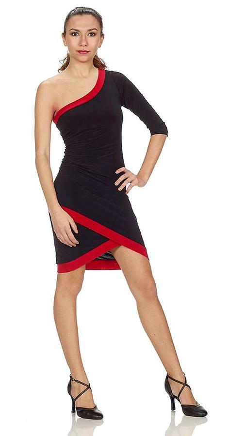 SHOULDER DRESS jersey BLACK WITH RED PROFILES ON 4-0066D