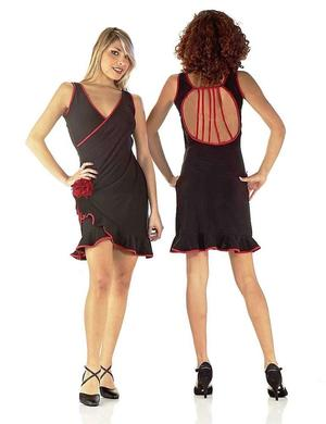 TROUSER TANGO DRESS WITH RED RUCHES AND OPEN CUT 4-0079
