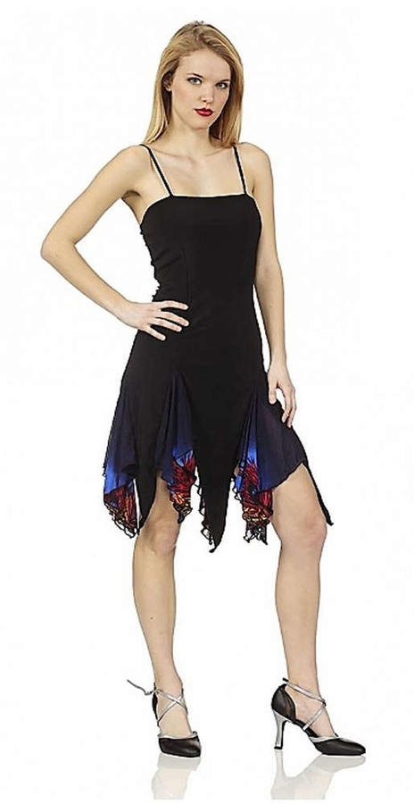LATIN DRESS IN BLACK ELASTIC SWEATER WITH TOUCHES IN BLUE FANTASY TULLE 4-0093