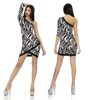 SINGLE SHOULDER DRESS IN ZEBRATED SWEATER WITH BLACK PROFILES 4-0097