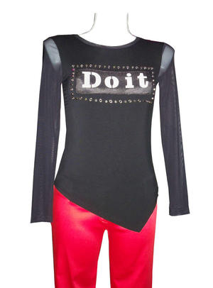 MAGLIA DO IT IN TACTEL CON SCHIENA E MANICHE IN TULLE 6-0017