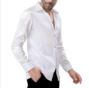 WHITE SHIRT TOTAL WHITE SATIN FABRIC TECHNICAL STRETCH 9-0004