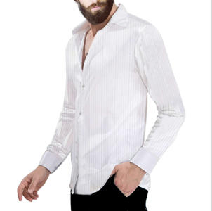 CAMICIA BIANCA IN RASO E TESSUTO TECNICO STRETCH A RIGHINE FINI 9-0005