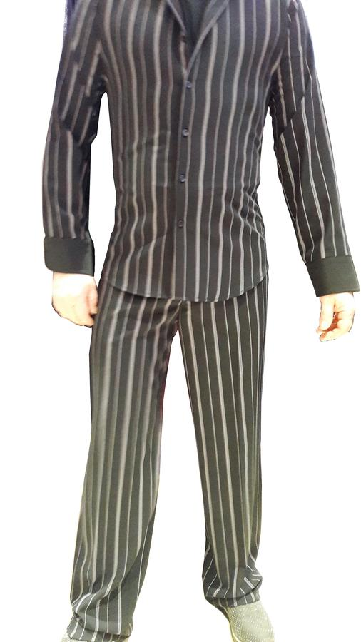SHIRT FOR DANCE IN STRIPED TECHNICAL FABRIC ON BLACK BACKGROUND 9-0006