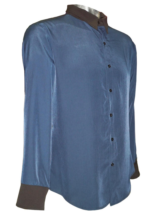 SHIRT DANCE GEORGETTE BLU LONG FRONT AND TECHNICAL FABRIC BEHIND