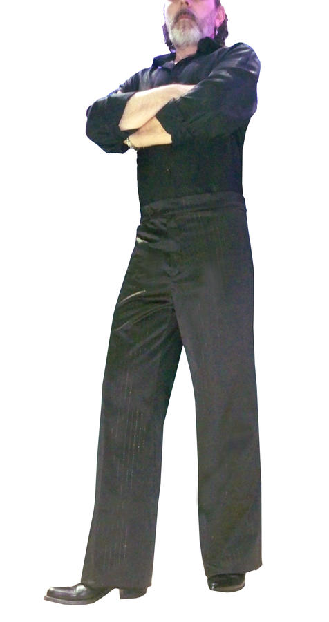 PANTALONI IN RASETTINO STRETCH A RIGHINE ARGENTO DA TANGO ARGENTINO 7-0003