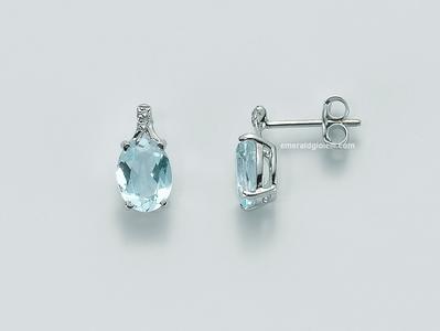 Erd1919 Orecchini Miluna con Acquamarina e Diamanti -