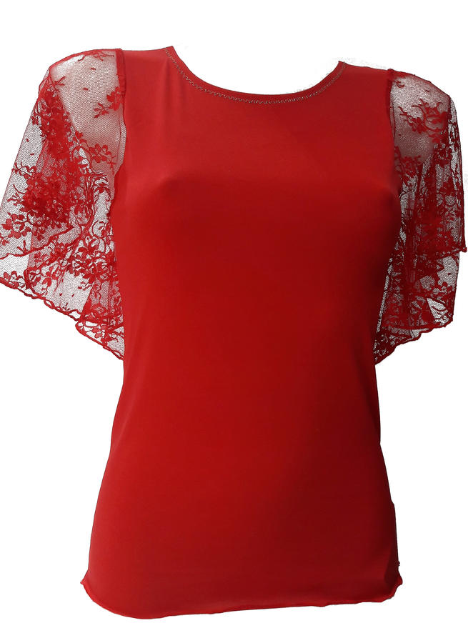 ELASTIC SWEATER WITH MEZZE SLEEVES WITH VOLANT LACE RED 6-0030