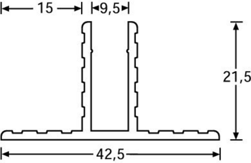 Base divisoria con canalina da 9,5mm