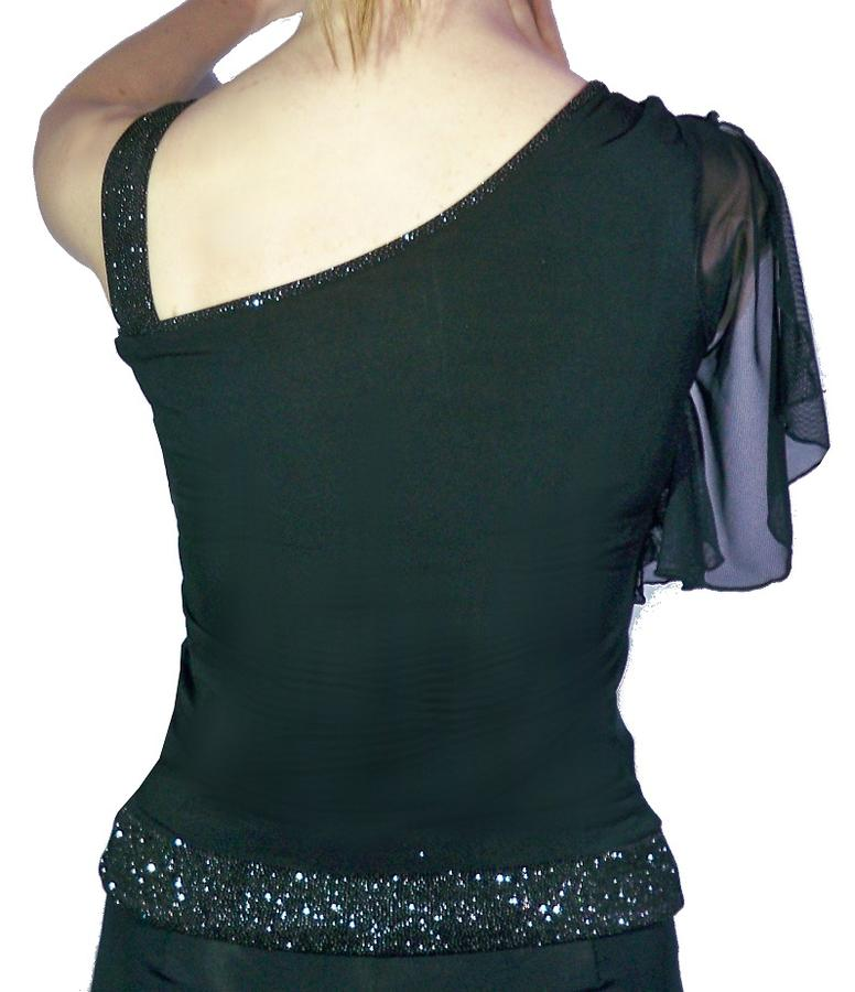 SHIRT WITH SHOULDER AND TULLE FABRIC GLITTER 6-0003