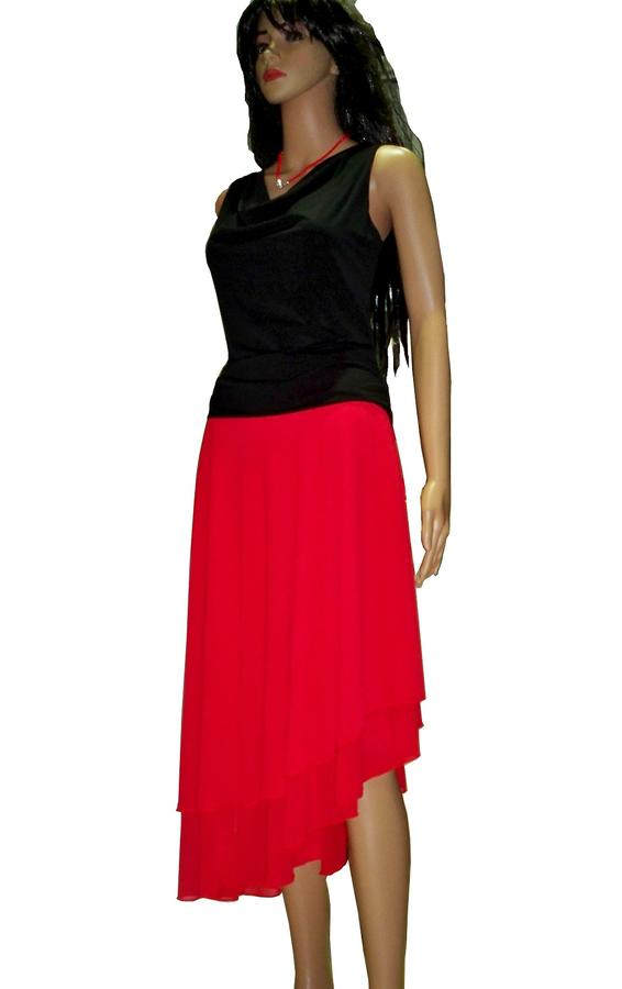 THICK SKIRT ASYMMETRIC VOILE WITH SIDE SPLITTING 2-0019