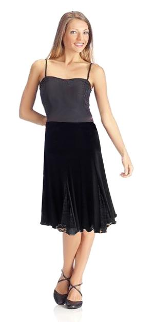 SKIRT IN MEDIAN TACTEL WITH LACE INSERTS LENGTH THE KNEE 2-0024